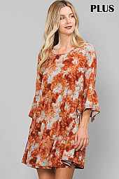 TIE DYE PRINT RUFFLE SLEEVE ROUND NECK DRESS
