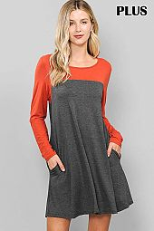 PLUS COLOR BLOCK ROUND NECK DRESS