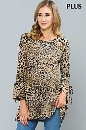 PLUS ANIMAL PRINT BELL SLEEVE TOP