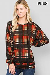 PLUS PLAID PRINT PUFF SLEEVE ROUND NECK TOP