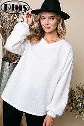 WIDE V NECK BOXY SOFT TOUCH SWEATER PLUS TOP