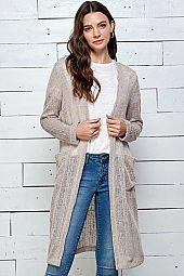 LIGHTWEIGHT OPEN MIDI CARDIGAN WITH FRONT POCKET