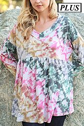 Plus Tie Dye Flounce Top