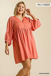 Button Front Embroidered Yoke Babydoll Dress