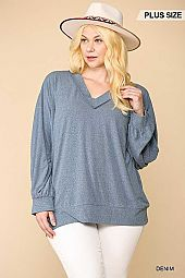Animal Textured Solid Knit Dolman Top