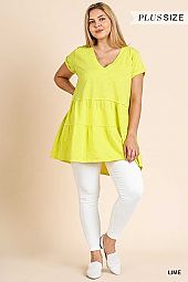 SOLID V NECK RUFFLE HEM TUNIC TOP