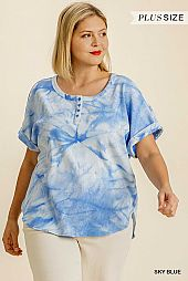 Tie Dye Button Front Short Folded Sleeve Ribbed Top