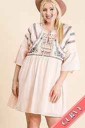 PLUS EMBROIDERY FRONT WITH TIE WIDE HALF SLEEVE TUNIC DRESS WITH