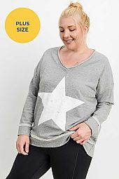 PLUS Antiqued Star Longline V Neck Sweatshirt