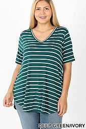 PLUS STRIPE V-NECK SHORT SLEEVE TOP