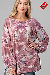 TIE DYE PUFF SLEEVE SLIT SIDES TOP PLUS