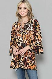 ANIMAL PRINT KEY HOLE TOP