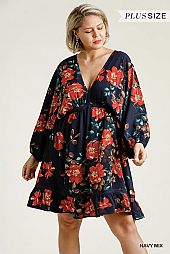 Floral Print Deep V-Neck Half Balloon Sleeve Dress
