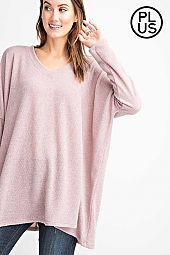 Plus V Neckline Sweater Boxy Fit Long Sleeve Top