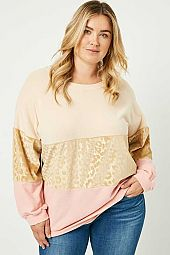 Plus Long Sleeve Gold Leopard Panel Top