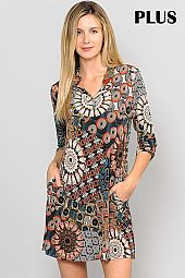 MULTI MEDALLION PRINT SPLIT NECK PLUS DRESS