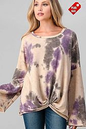 TIE DYE KNOTTED HEM WIDE SLEEVE TOP PLUS