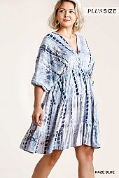 Shibori Tie Dye V-Neck Babydoll Tiered Dress