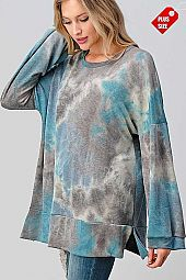 TIE DYE WIDE SLEEVE SLIT BANDED TOP PLUS