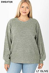 PLUS BALLOON SLEEVE MELANGE SWEATER