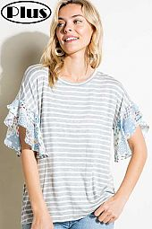 STRIPE PAISLEY MIXED RUFFLE SLEEVE PLUS TOP