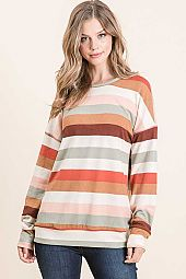 MULTI STRIPE OAKLEY ROUND NECK LONG SLEEVE TOP