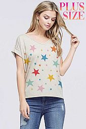 Plus Multi color star all over v neck short sleeve top