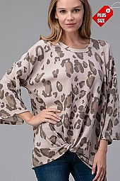 ANIMAL PRINT TWIST HEM TOP PLUS