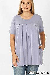 PLUS SHORT SLEEVE ROUND NECK PLEATED TOP