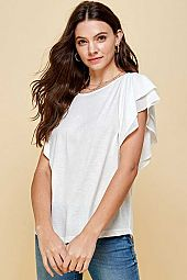 COTTON ROUND NECK DOUBLE RUFFLE SHORT SLEEVE TOP