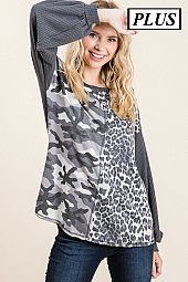 CHEETAH AND ARMY PRINT CONTRAST TOP