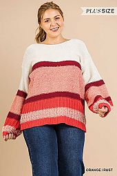 Multi-Knit Long Puff Sleeve Pullover Sweater
