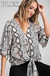 PLUS SNAKE PRINT V NECK TOP WITH FRONT TIE