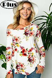 FLORAL JERSEY ONE SHOULDER LONG SLEEVE PLUS TOP