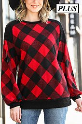 PLAID LONG SLEEVE KNIT TOP