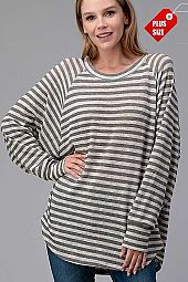STRIPED LONG SLEEVE OVER SIZE TOP PLUS