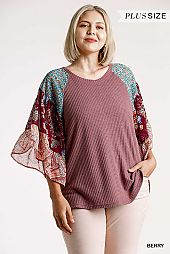 Floral Paisley Mixed Print Bell Sleeve Waffle Knit Top