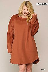 Long Sleeve Reversed Fabric Detail Dress