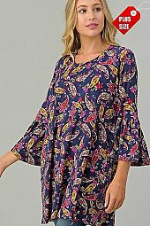 PAISLEY PRINT  RUFFLE SLEEVE TOP PLUS