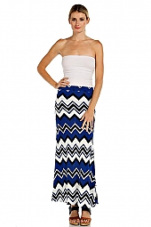 FOLDOVER WAIST COLORBLOCK KNIT CHEVRON MAXI SKIRT