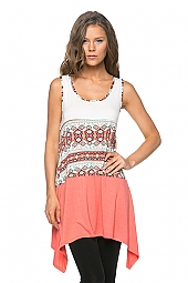 SOLID TRIM ACCENT INDIAN PRINT TANK TUNIC