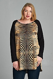 ANIMAL PRINT CONTRAST TUNIC TOP