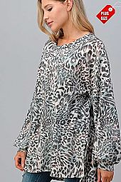 LEOPARD PUFF SLEEVE SLIT SIDES TOP PLUS