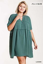 Linen Blend Button Front Short Folded Sleeve Dress