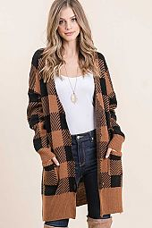 PLAID SWEATER KNIT POCKET BUTTON OPEN CARDIGAN