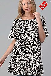 LEOPARD RUFFLE SLEEVE  BOTTOM TUNIC PLUS