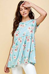 FLOWER PRINT SHORT SLEEVE ROUND NECK BABY DOLL TOP