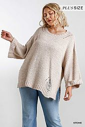 Wide Round Neck Distressed Detail Pullover Sweater