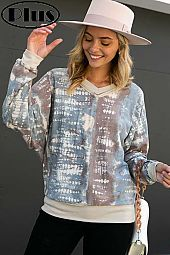 TERRY TIE DYE PRINT SOLID MIX WIDE V NECK PLUS TOP
