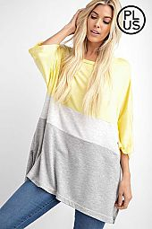 Plus Wide Round Neck Color Block Top